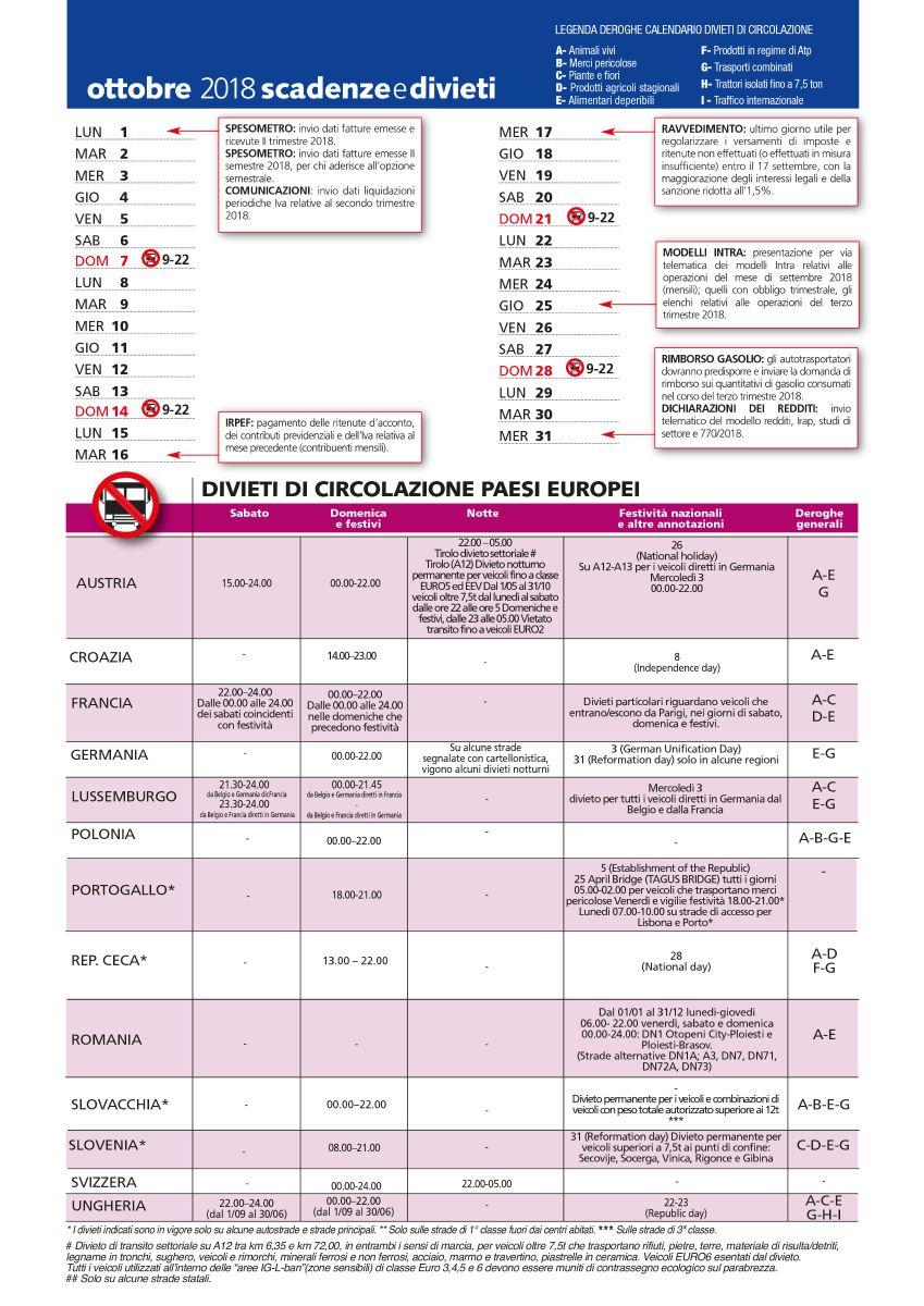 Calendario Divieto Circolazione Mezzi Pesanti.Divieti Di Circolazione Ottobre 2018